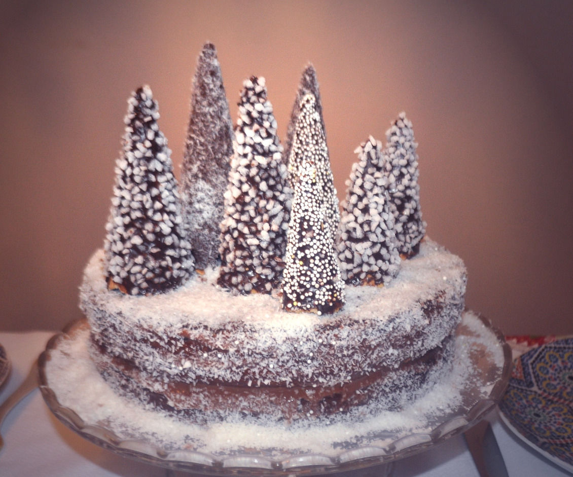 Snowy forest cake