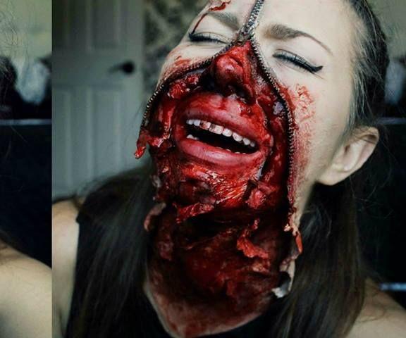 Zipper Face Halloween Makeup Tutorial