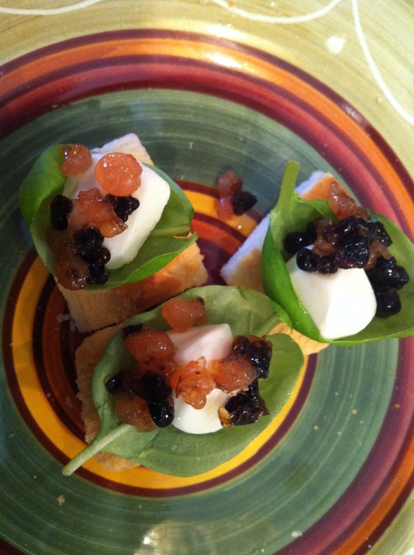 "Bite Size Caprese Using Tomato and Balsamic ""Caviar"""