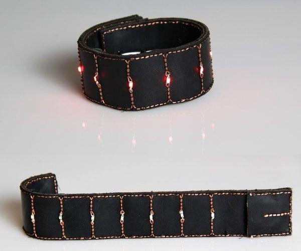 LED Slap Wrap Bracelet: Experiments in Conductive Laser Embroidery