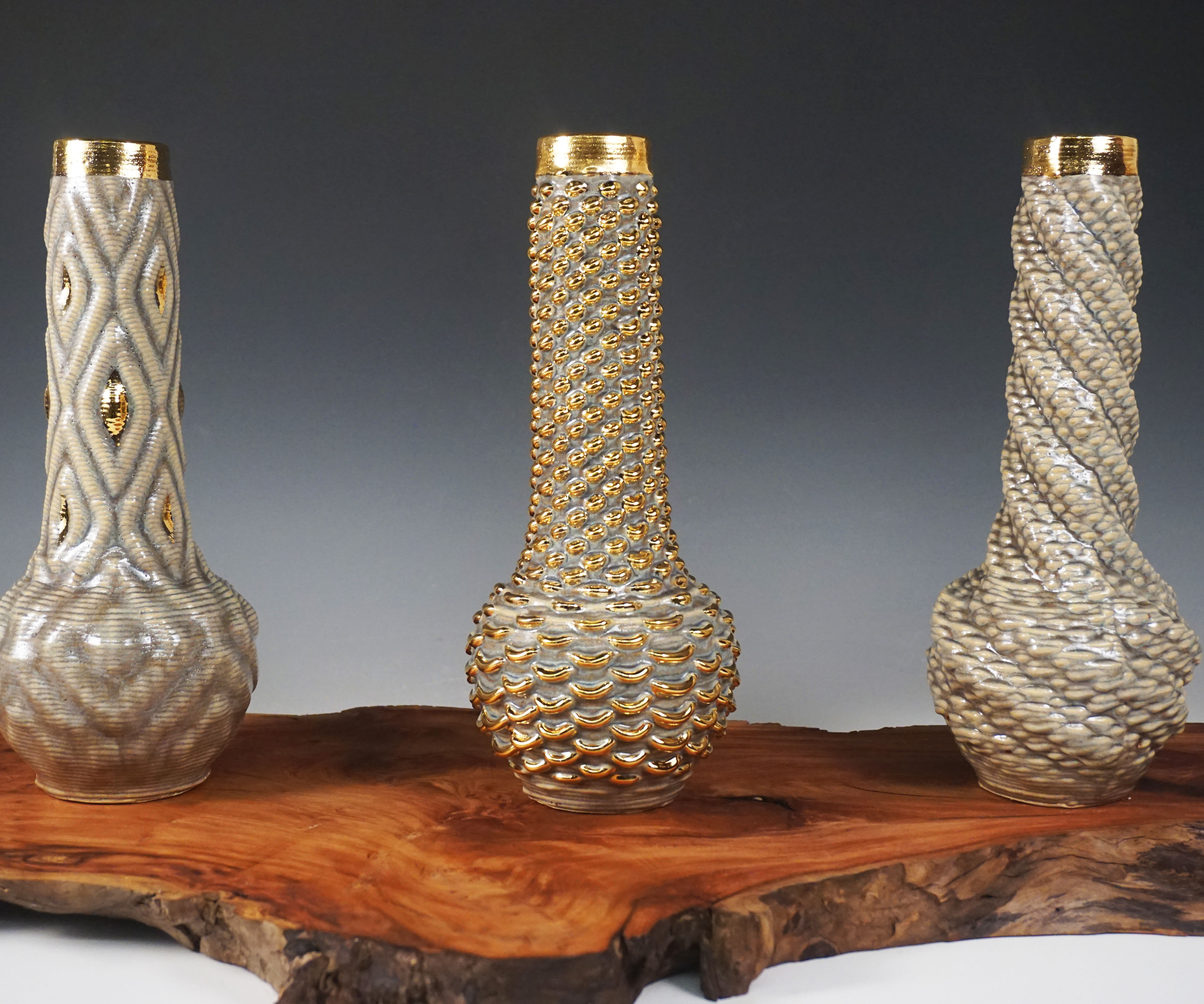 3D printed vessels with glaze and luster