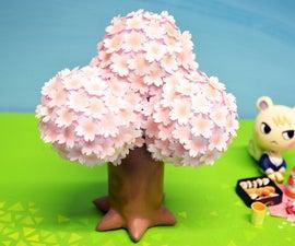 如何用风干粘土塑造一棵动物穿越樱花树