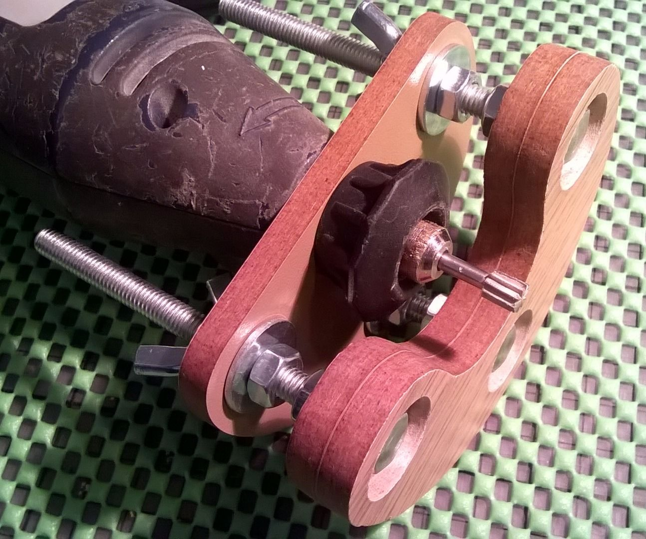 Wooden precision mini router base for rotary tool (with cardboard prototype)