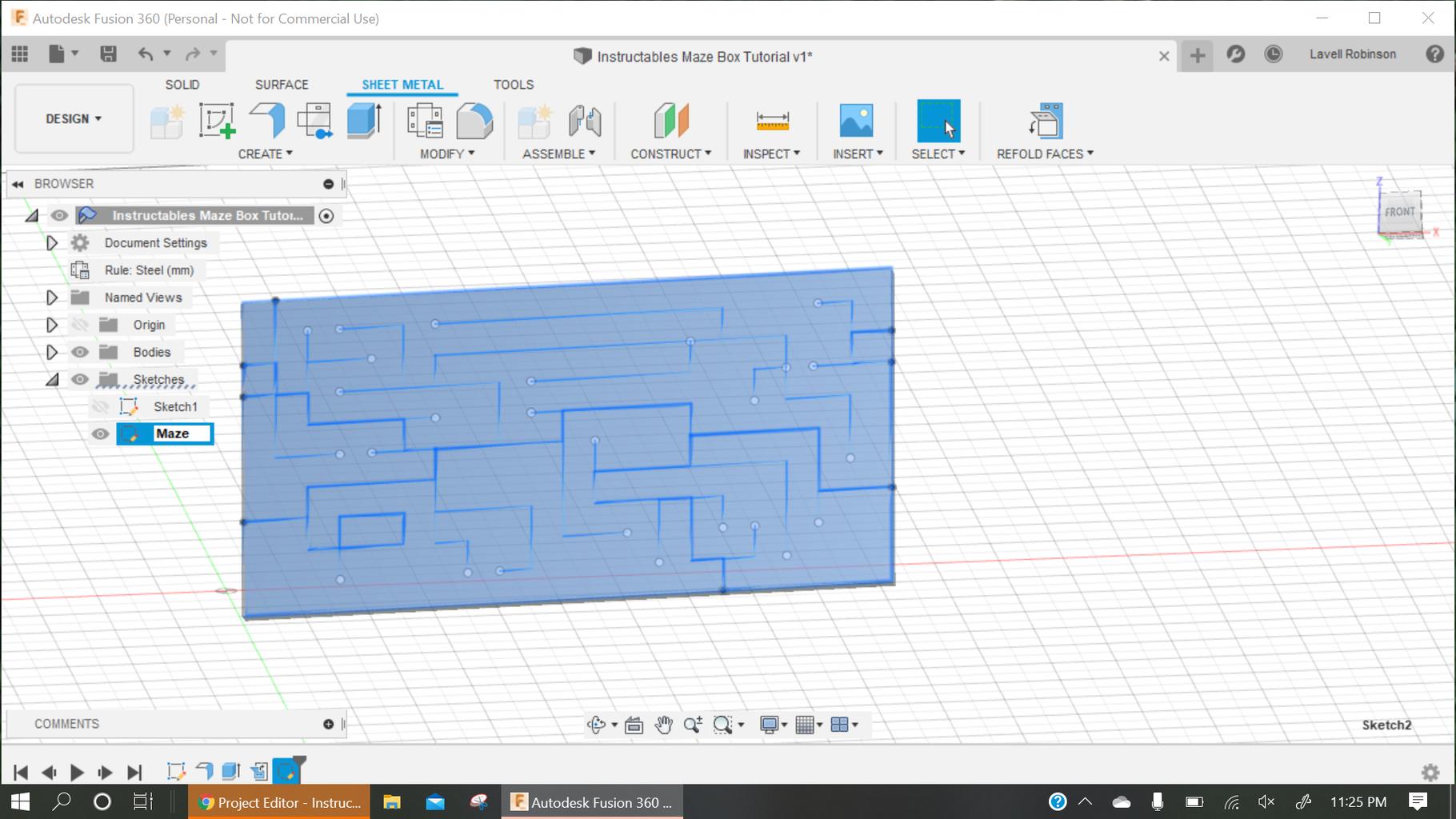 Sketch Maze on Flattened Flange.