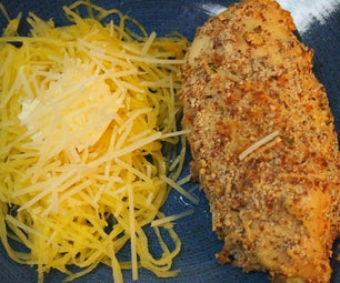 """How to Bake Gluten-Free """"Breaded"""" Chicken With Spaghetti Squash """"Pasta"""""""