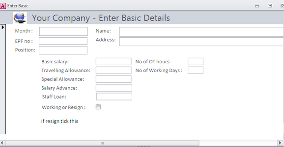 Create a Form to Enter Data