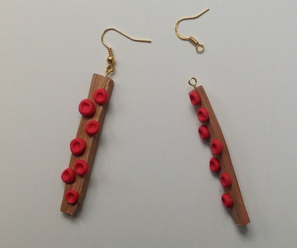 Red Dot Wooden Earrings With Sugru