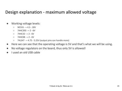 Design Explanation - Voltage and Power