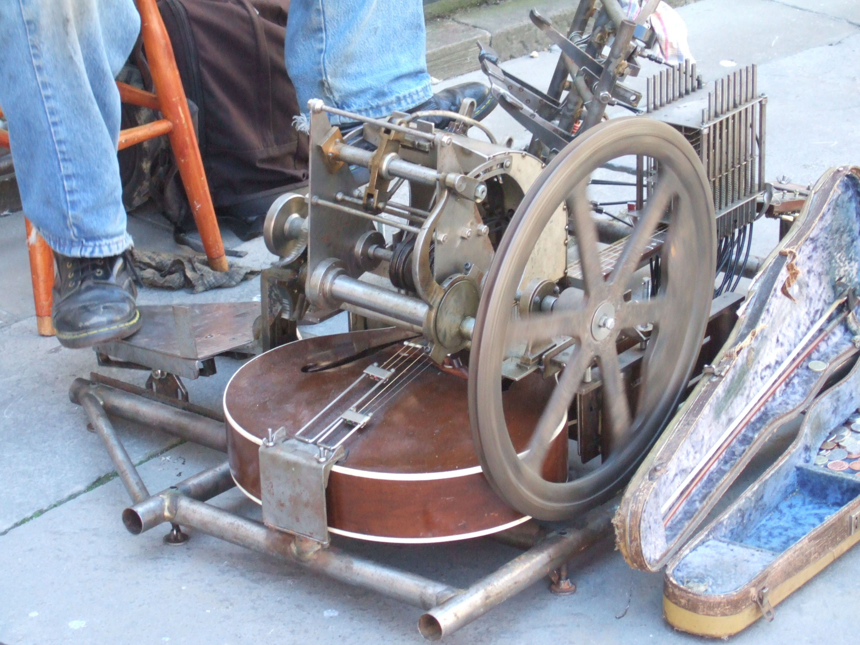 Bandit music machine and its creator, Philip Wickenden
