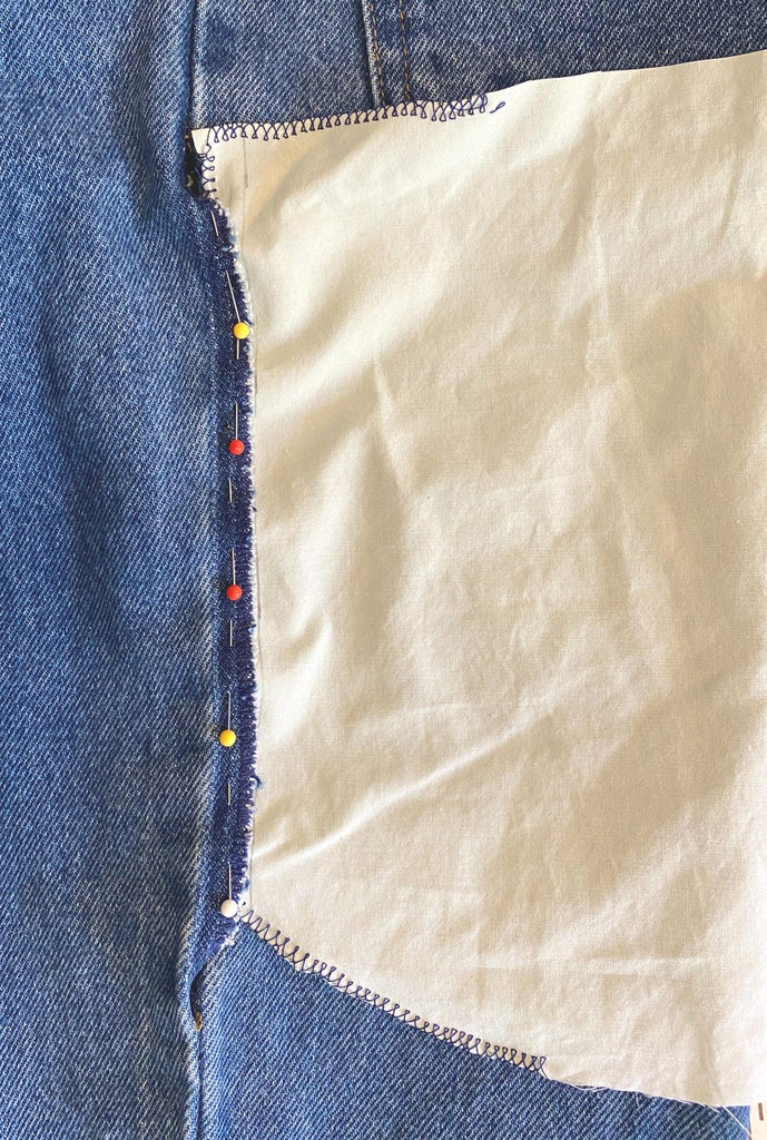 Attach the Inner Part of the Pocket to the Seam Allowance on  the Front of the Pants