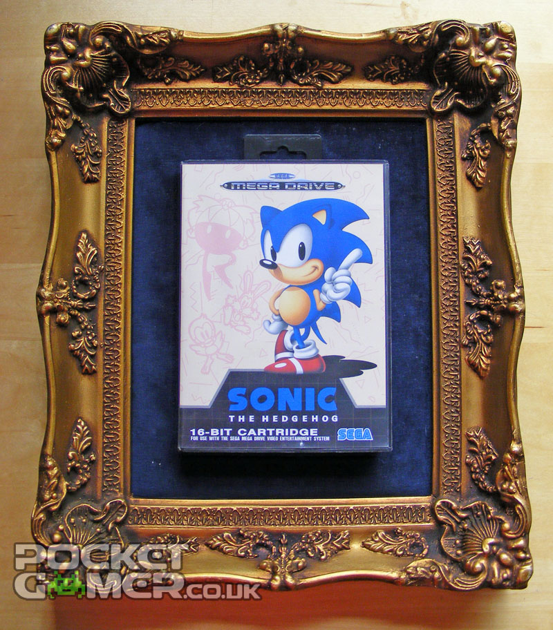 Retro gaming art with Sonic the Hedgehog