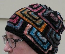 彩色玻璃模块针织 - 简单的帽子