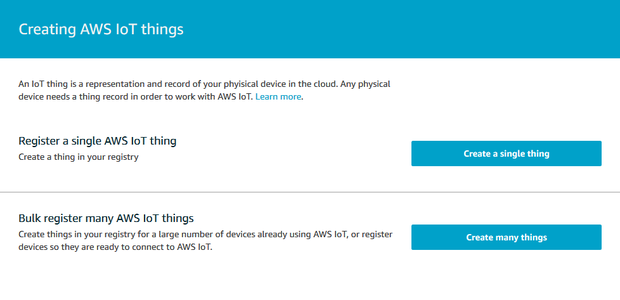 """Registering an AWS IOT """"thing"""""""