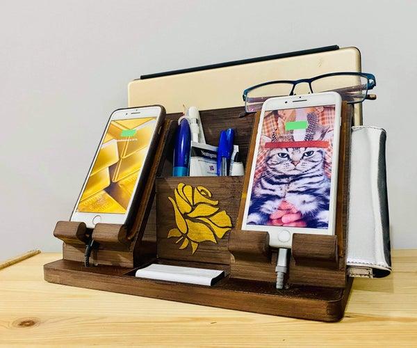 Wooden Phones Docking Station / Desk Organiser (3D Printed)