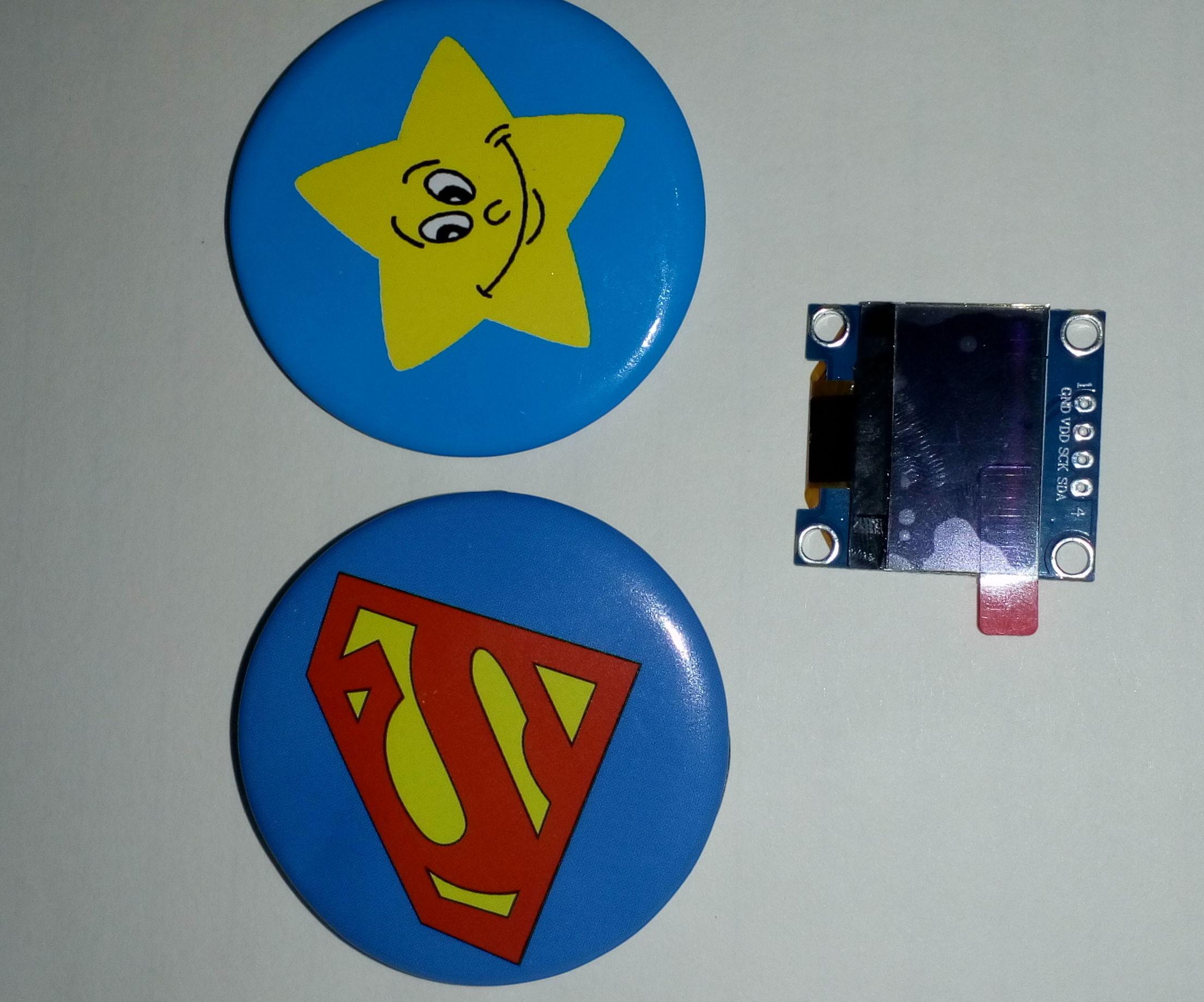 Smart Poetic OLED Display Badge