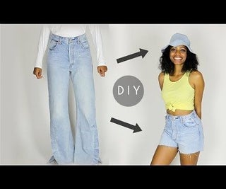 DIY Denim Bucket Hat & Shorts Set From Old Jeans (Beginners Sewing)
