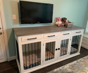 Large Double Dog Kennel TV Stand
