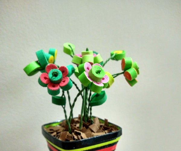Realistic Quilled Miniature Flower Pot From Scratch!