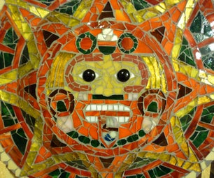 Stained Glass Aztec Calendar Mosaic