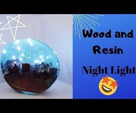 Led Wood and Resin Lamp