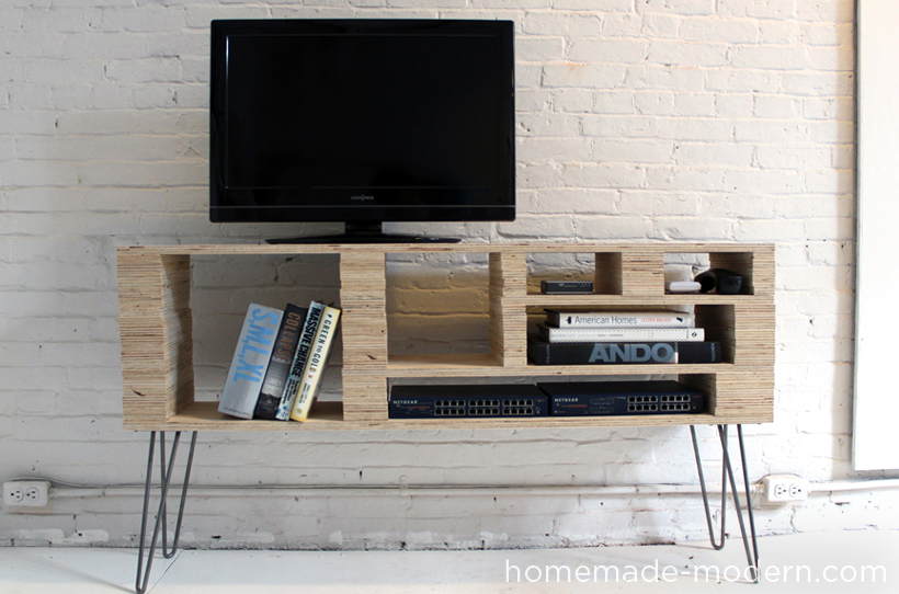 HomeMade Modern DIY Plywood Media Console