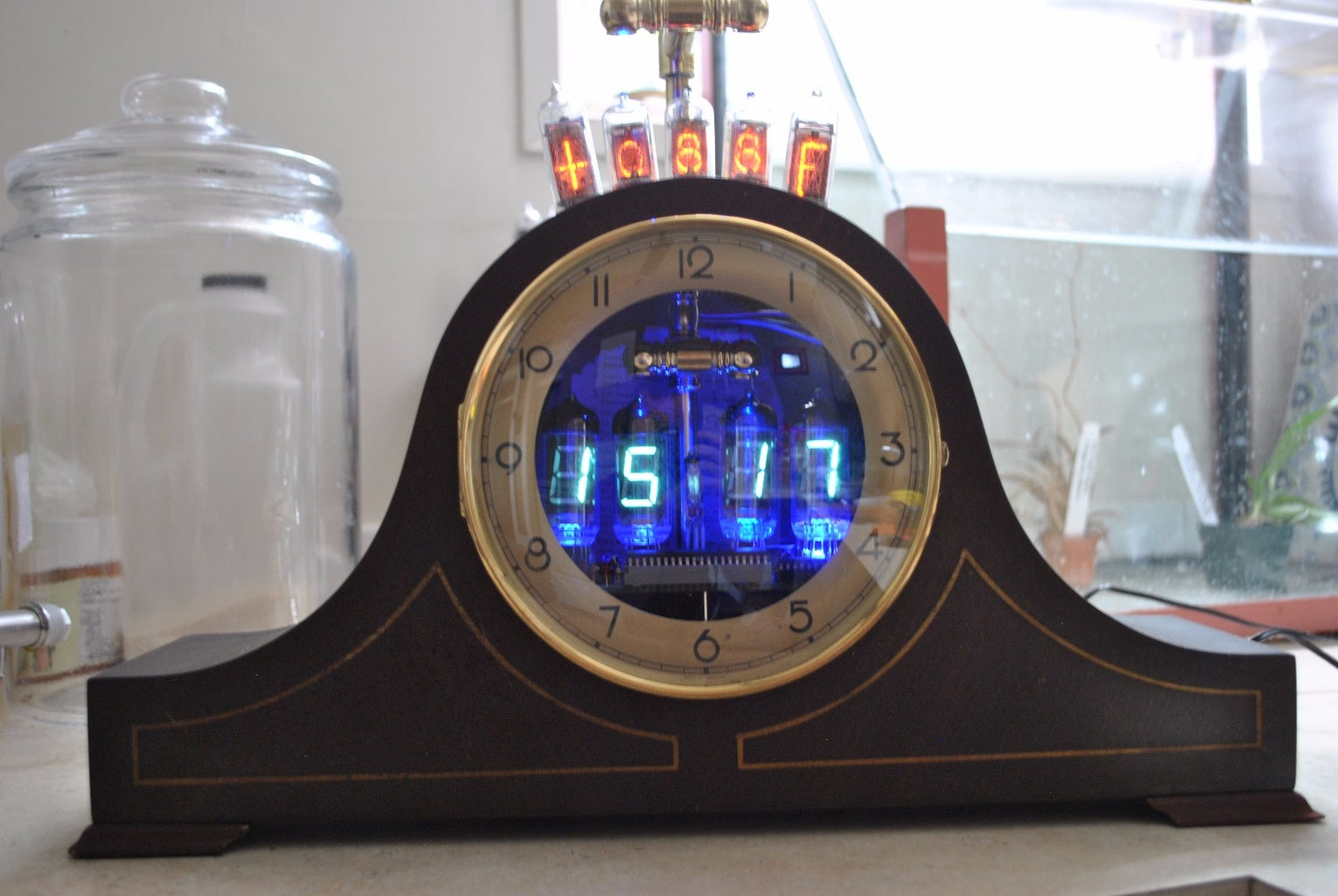 VFD Clock/Nixie Indoor/outdoor Thermometer Retro Fit Linden Mantle Clock