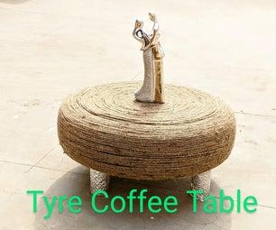 回收的咖啡桌由轮胎组成,在3个简单的步骤