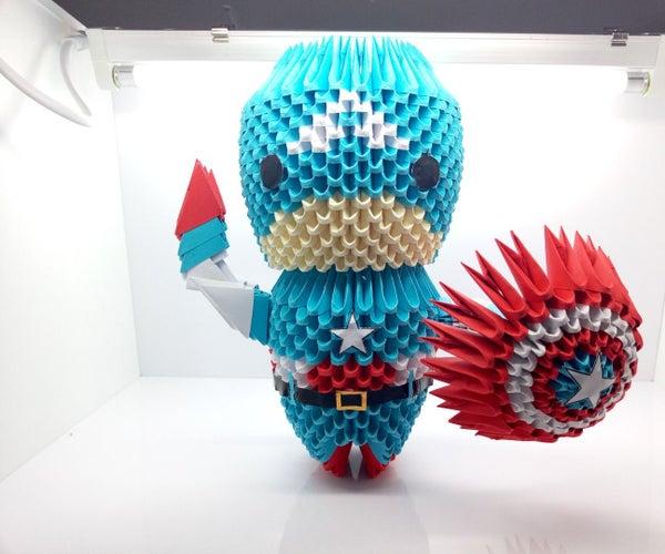 Origami 3D Captain America