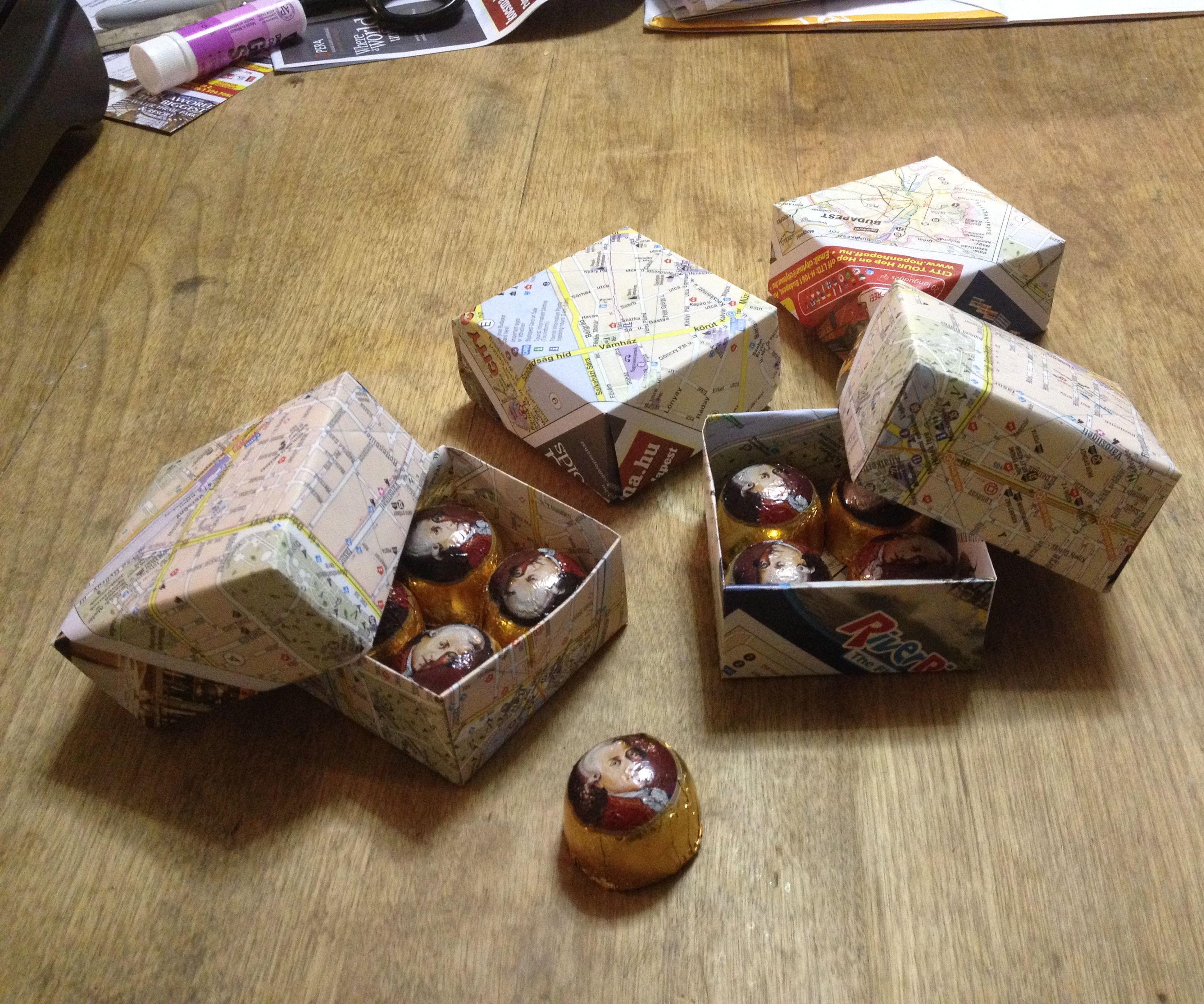 Candy Box made of Souvenir Maps