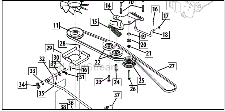 Transmission Belt / Fan Replacement Cub Cadet LTX1045 : 9
