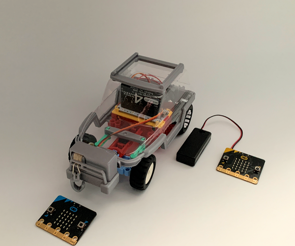[2021] Servo Winch Challenge! Two (x2) Micro:bits & RC Car for Conquering Gravity