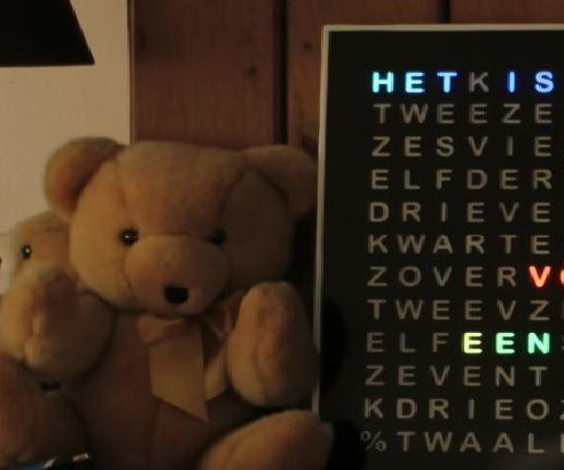 Rainbow Word Clock With a Full Rainbow Effect.