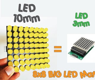 How to Build 8x8 BIG LED Matrix (MAX7219 LED 10mm)