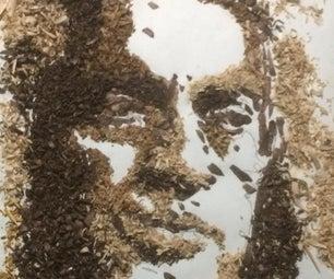 制作拼贴画肖像回收刨花刨花