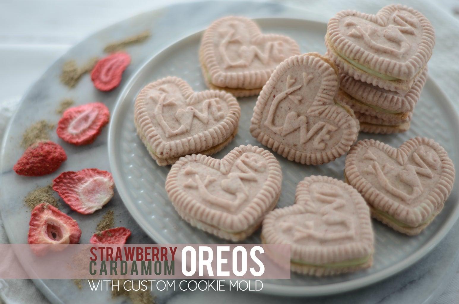 Strawberry Cardamom Oreos With Custom Cookie Mold