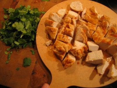 Add the Chicken, Cilantro, and Chopped Chicken