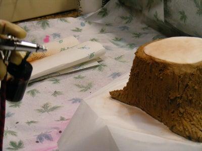 Making the Tree Stump Cake