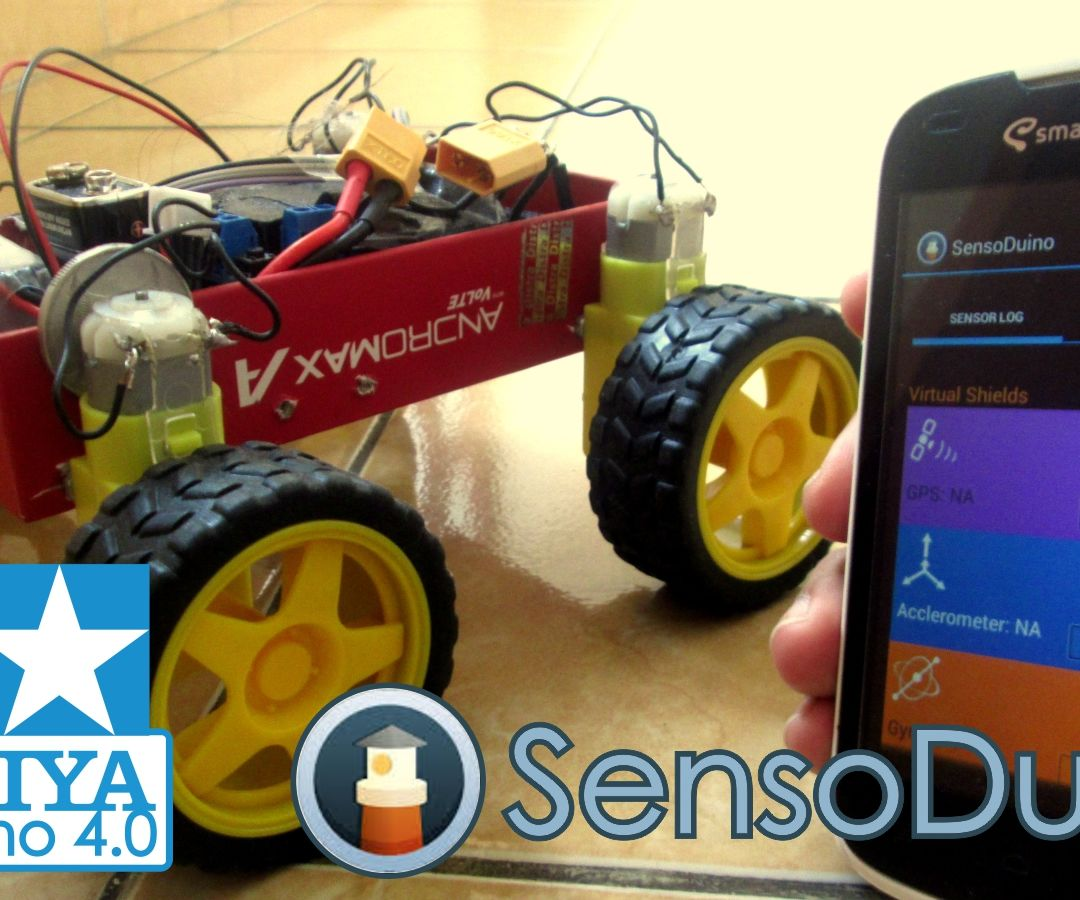 Tamiya Androino 4.0 (Arduino 4WD Gesture & Bluetooth Controlled With Sensoduino)