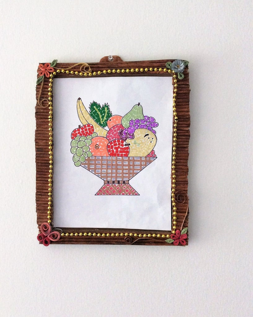 Mosaic Art Fruit Basket & Frame With Papers /kids Craft