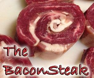 The BaconSteak - Meat Glued Bacon Flank Steak Roulade
