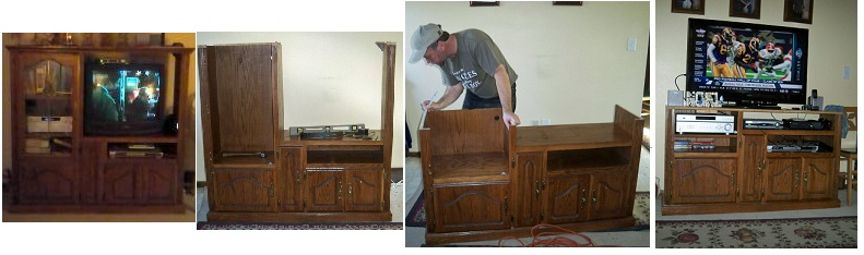 How to modify an entertainment center to fit a HDTV