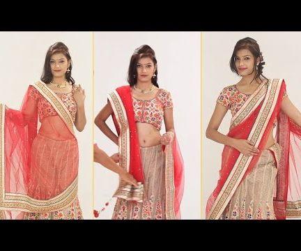 How To Wear Lehenga Saree Step By Step To Look Slim - Different Ways To Drape Lehenga Dupatta