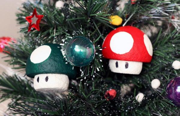 1-up and Super Mushroom Ornaments
