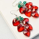 Beebeecraft Tutorials on How to Make Red Crystal Heart Shape Earrings