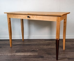 Japanese and Shaker Style Desk With Jyuji Mechigai Tsugi Joint