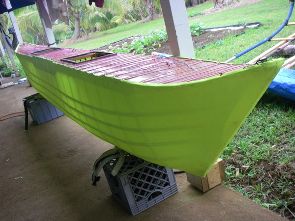 Sailing Canoe Chapter 7: Sew a Skin Over the Hull Skeleton and Seal It.