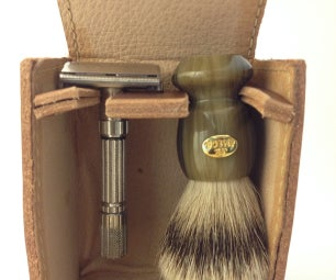 Hand Sewn Leather Travel Case for Full Size Shave Brush and Safety Razor