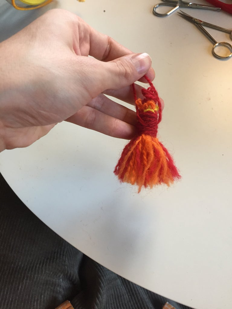 """First Technique: """"hanging"""" Pom-Poms"""
