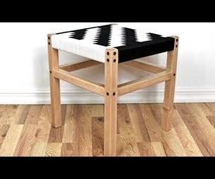 DIY Herringbone Stool/Chair W/ Woven Nylon Webbing