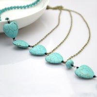 DIY Beaded Chain Necklace With Bronze Chains and Turquoise Beads